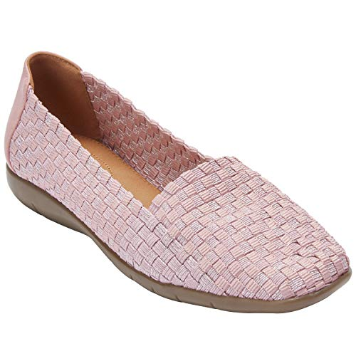Comfortview Women's Plus Size The Bethany Flat - Rose Mist Metallic, 9 M