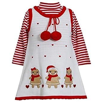 60s 70s Kids Costumes & Clothing Girls & Boys Bonnie Jean Baby-girls Gingerbread Holiday Jumper Dress Set $34.98 AT vintagedancer.com