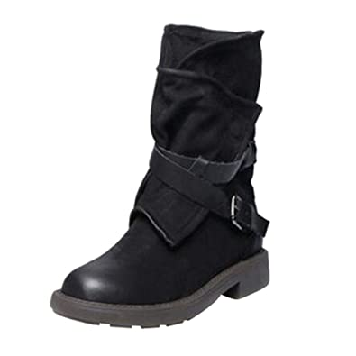 2d6d735b2f25e Amazon.com | UOKNICE Fashion Medium Military Boots Women Buckle Artificial  Leather Patchwork Flat Shoes(Black, CN 38(US 6.5)) | Ankle & Bootie