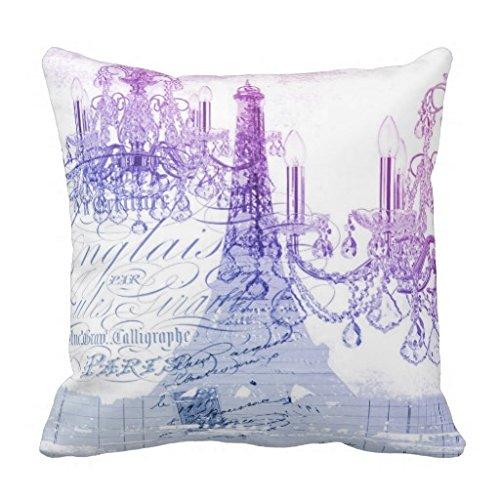 Modern Purple Chandelier Paris Eiffel Tower Pillow Case