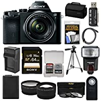 Sony Alpha A7 Digital Camera & 28-70mm FE OSS Lens with 64GB Card + Battery & Charger + Case + Tripod + Flash + Tele/Wide Lens Kit from Sony