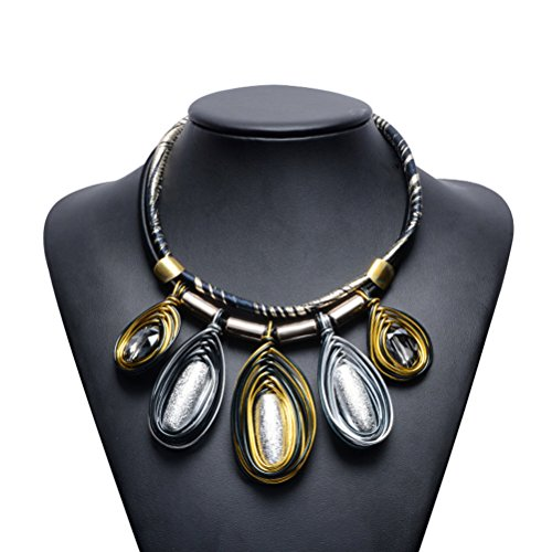 Trendy Vintage Boho Oval Choker Chunky PU Leather Rope Pendant Statement Necklace Jewelry for Women&Girls by TAGOO (UP Leather Oval Silver)