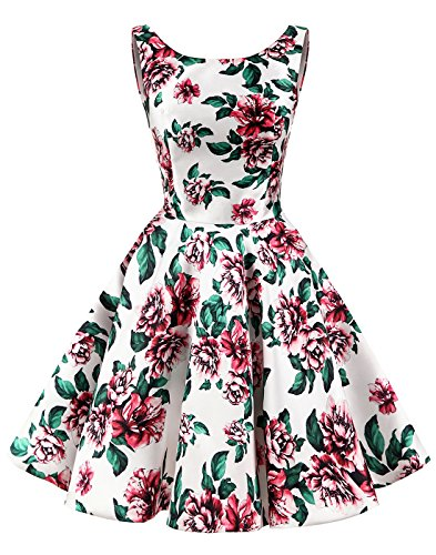 Rundhalsausschnitt Vintage Blumen Knielang Grün Erosebridal Retro Kleid Einfach Damen zBWHYInT