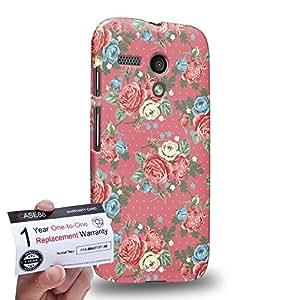 Case88 [Motorola Moto G (1st Gen)] 3D impresa Carcasa/Funda dura para & Tarjeta de garantía - Art Drawing Fashion Pink Blossom Floral Pattern