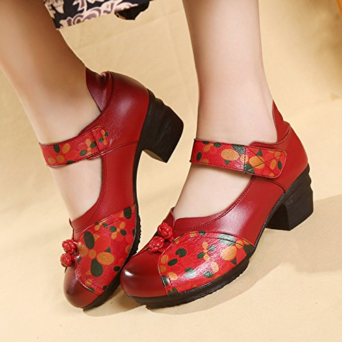 Women's Soft Real Leather Comfortable Round Toe Mid Heel Mary Jane Shoes B07CYS6G5X 7 M US|Style 4 Red
