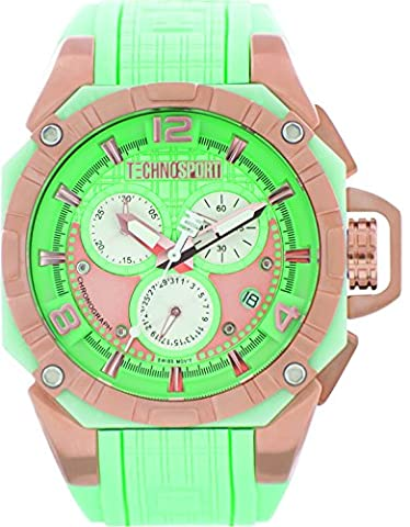 Technosport TS-104-7 Womens 40MM Aquamarine and Rose Gold Swiss Chronograph Watch (Gold Mercer Watch)