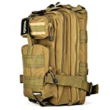Eyourlife Military Tactical Backpack Small Rucksacks Hiking Bag Outdoor Trekking Camping Tactical Molle Pack Men Tactical Combat Travel Bag 20L Tan