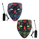 AY Halloween Light Up LED Mask Blue Green 2 Pack, Scary Glowing Festive Party Cosplay Mask Men Women Kids