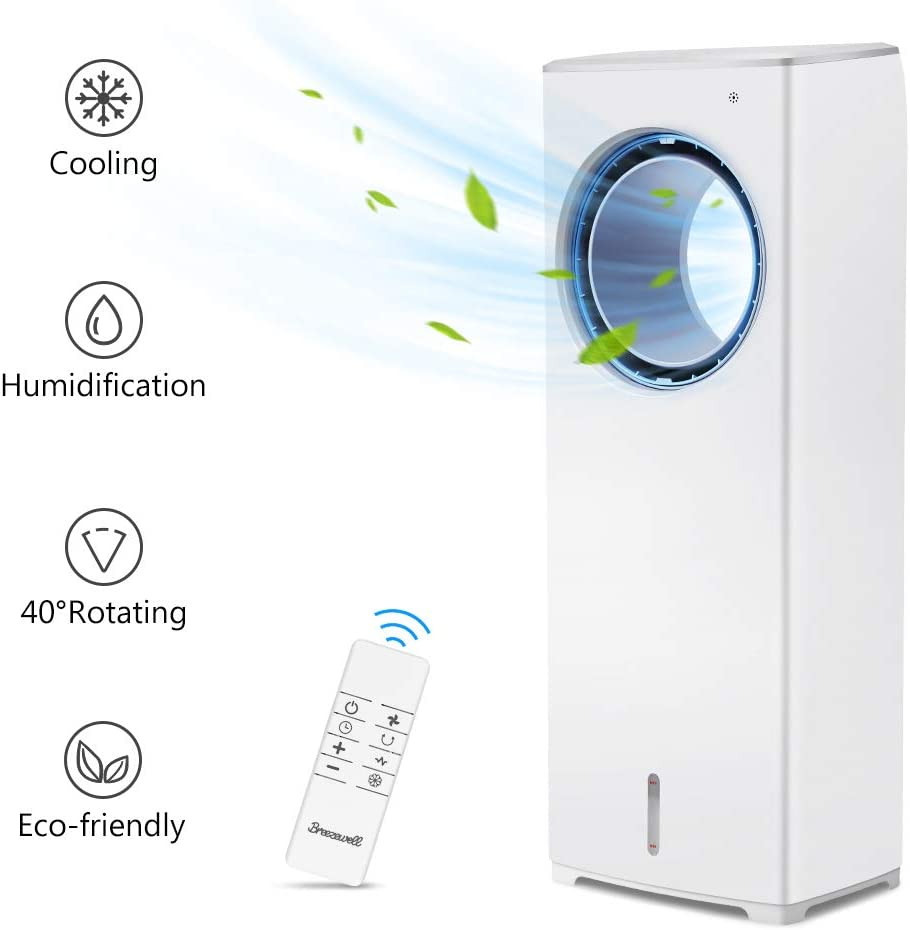BREEZEWELL 2-in-1 Evaporative Air Cooler, Tower Fan, Swamp Cooler w/ 3 Wind Speeds, 4 Modes w/Cooling&Humidification, Remote Control, 40° Oscillation, 8-Hour Timer, Low Noise for Home & Office, 32-In