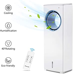 BREEZEWELL Evaporative Air Cooler w/ 3 Wind Speeds, 4 Modes w/Cooling&Humidification Function, Remote Control, 40° Oscillating Fan, Built-in 15-Hour Timer, Low Noise for Home & Office, 13-Inch