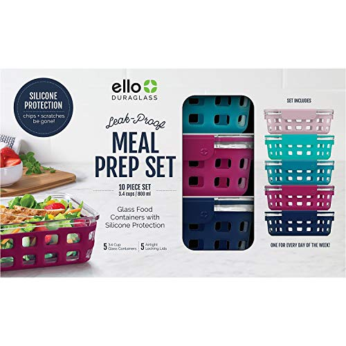 (Ello DuraGlass 10-Piece Leak-Proof Meal Prep Containers)