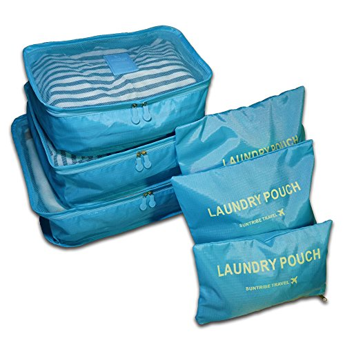 3 Piece Shi Set (6 Set Travel Luggage Organizer, Packing Cubes, 3 Cubes and 3 Pouches (Light Blue))