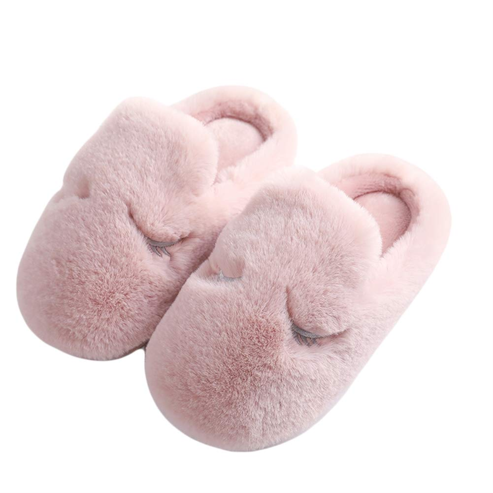 Liveinu Kids Toddlers Non Slip Plush Faux Fur Warm House Slippers Booties Bedroom Shoes
