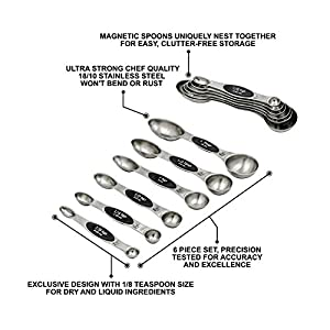 6 Piece Nesting Magnetic Measuring Spoon Professional Set 18/10 Stainless Steel for Easy & Organized Cooking and Baking…