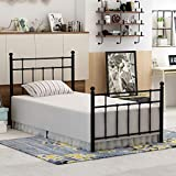 DUMEE Metal Twin Bed Frame with Headboard Steel Slat for Kids Bedroom Black