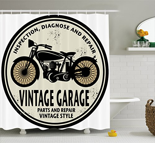 vintage motorcycle shower curtain - 2
