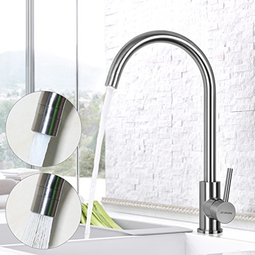 Lever Bar Kitchen (JZBRAIN Commercial Single Handle High Arch Kitchen Faucets Single Lever Deck Mounted Stainless Steel Kitchen Bar Sink faucets with Dual-function Nozzle)