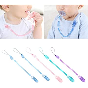Lantusi Unisex Baby Casual Durable Practical Baby Pacifier Spring Clip Chain Leashes & Cases