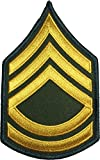 us army sewing kit - U.S. Army Sergeant E-7 First Class Rank Stripe Army Uniform Chevrons Sew on Iron on Arm Shoulder Embroidered Applique Patch - Gold on Green - By Ranger Return