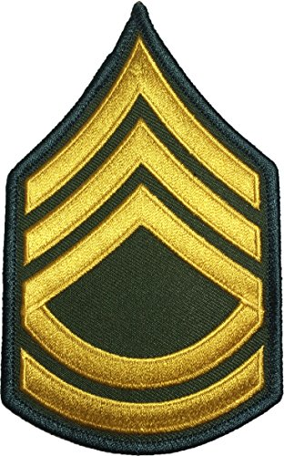 Papapatch US Army Military Sergeant E-7 First Class Rank Stripes Uniform Chevrons Sewing Iron on Arms Shoulder Embroidered Applique Patch - OD (Olive Drab) (1 Piece) (E7-OD)