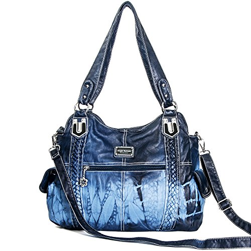 Angelbarcelo Girls Large Handbags Female Hobo Corss Shoulder Bags Tote PU Washed Leather Handbags 2 Top Zippers Closure Fashion Large Capacity Bags (0044 Blue) by Angelbarcelo