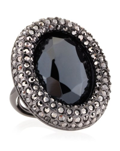 Kenneth Jay Lane Pave Gunmetal Black Stone Oval Statement Ring, One size