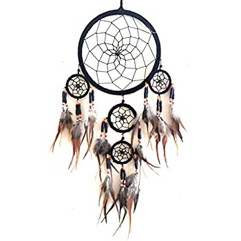 "Dream Catcher Traditional SUEDE Black Color With Feathers & Beads, 7"" Diameter & 25"" Long - OMA BRAND"