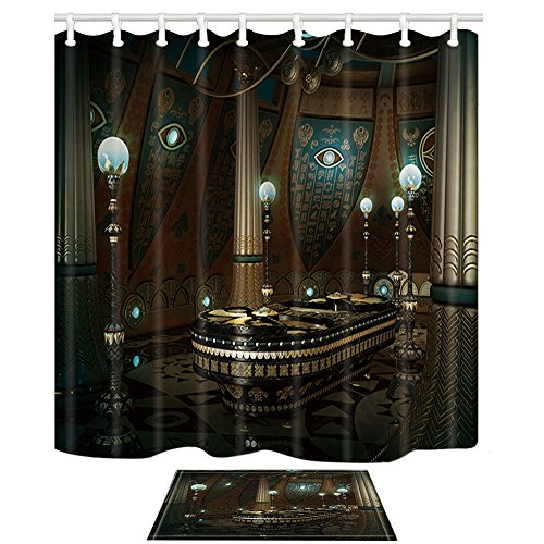 NYMB Adventure Egyptian Decor, Sarcophagus with Hieroglyphics on the Wall 69X70in Mildew Resistant Polyester Fabric Shower Curtain Suit With 15.7x23.6in Flannel Non-Slip Floor Doormat Bath Rugs
