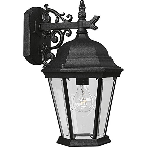 Spring Wall Lighting - Progress Lighting P5683-31 Wall Lantern with Scroll Arm Combined with The Brilliant Clarity of Clear Beveled Glass, Textured Black