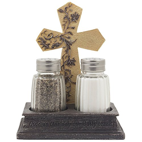 Decorative Stone Look Holy Cross with Special Blessing Salt and Pepper Shaker Set in Spiritual, Religious & Christian Decor Sculptures for Dining Room or Kitchen Table Easter Decorations As Inspirational Gifts by Home-n-Gifts