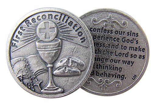 Chalice with Host and Bible First Reconciliation Pocket Token with Confession Back (Host Of Sunday Best)