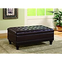 Coaster Home Furnishings Storage Ottoman with Tufted Accents in Dark Brown Leather