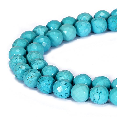 BRCbeads Gorgeous Natural Chinese Blue Turquoise Gemstone Faceted Round Loose Beads 6mm Approxi 15.5 inch 58pcs 1 Strand per Bag for Jewelry Making
