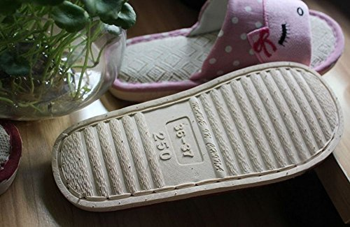 Bronze Times TM Womens Premium Couples Cartoon Skid-Proof Flax House Slipper Green kSRUXRqbPH