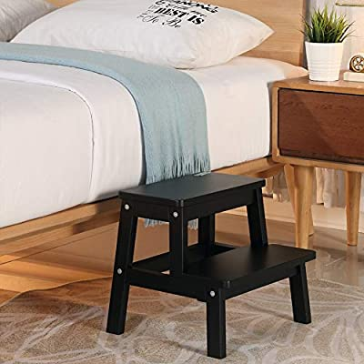 Houchics Multi Purpose Kids 2 Step Wood Step Stool With 260lb Load Capacity Wooden Bedside Step