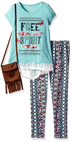 Freestyle Revolution Big Girls' 3pc Top/Legging/Purse Set, Turquoise, 10
