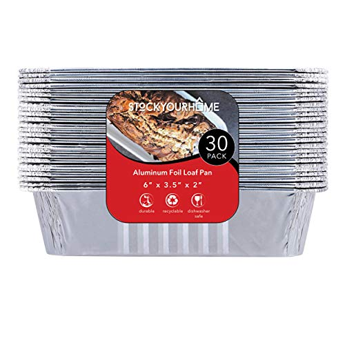 "Bread Pans 30 - 1 lb Aluminum Foil Loaf Pans (30 Pack) - Disposable Mini Size Bread and Cake Pan Great for Restaurant, Party, BBQ, Catering, Baking, Cooking, Heating, Storing, Prepping Food – 6"" x 3.5"" x 2"""