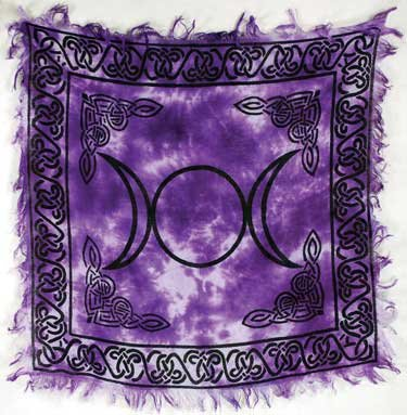 Altar Goddess Triple (Celtic Knots Violet Tie-dyed Purple Color Triple Moon Goddess Altar Cloth 18