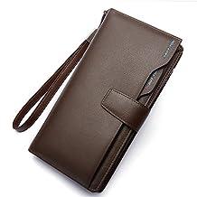 Womens Genuine Leather Wallets zippered Purse Long Bifold Clutch Holder WalletQB140COFFEE