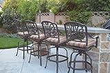 Elizabeth Outdoor Patio Set 4pc Swivel Bar Stools 30'' Cast Aluminum Dark Bronze, Walnut Color