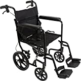 ProBasics 19-inch Transport Aluminum Wheelchair Black Includes Desk-Length Arms & Swing-Away Foot Rests 22 lb. Foldable Wheelchair for Storage & Transport
