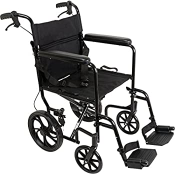 Amazon.com: Medline MDS808210ABE Aluminum Transport Chair ...