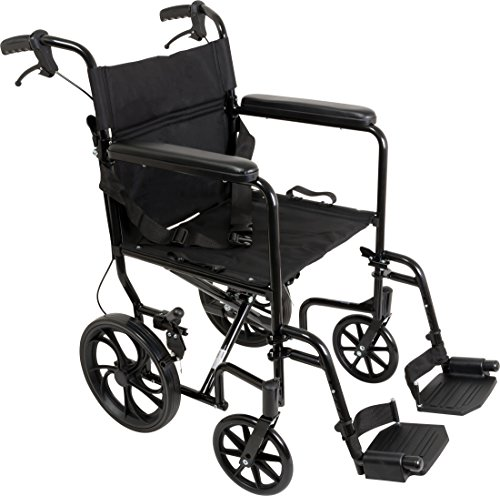 (ProBasics Aluminum Transport Wheelchair With 19 Inch Seat - Foldable Wheel Chair For Transporting And Storage – 12-inch Rear Wheels For Smoother Ride, 300 LB Weight)