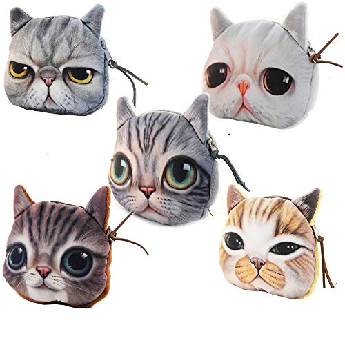 - Hoxis Adorable 3D Cat and Dog Face Plush Coin Purse (5 pieces, Small)