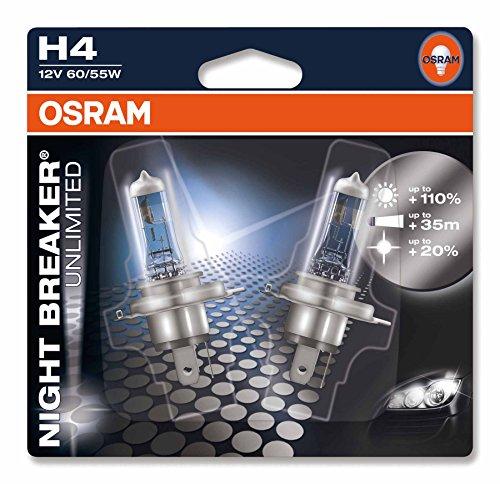 OSRAM NIGHT BREAKER UNLIMITED H4, Halogen-Scheinwerferlampe, 64193NBU-02B, 12V PKW, Doppelblister (2 Stück)