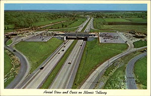 Aerial View And Oasis On Illinois Tollway Scenic Original Vintage Postcard