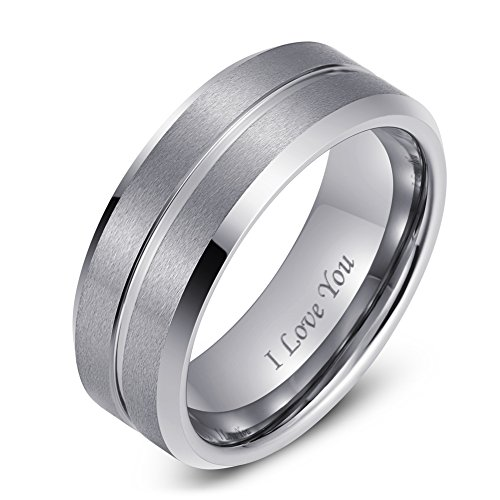 LaurieCinya Tungsten Carbide Ring Men Women Wedding Band Engagement Ring 8mm Comfort Fit Engraved 'I Love You' by LaurieCinya (Image #1)
