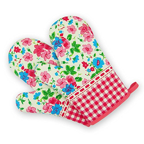 Sealike Cute Floral Flower Grid Cotton Oven Mitt Cooking Mitts Pot Holder Potholder Heat Resistant Mitt with a Stylus