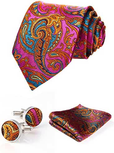 HISDERN Men's Paisley Wedding Silk Neck Tie and Pocket Square Cufflinks 3pcs Set