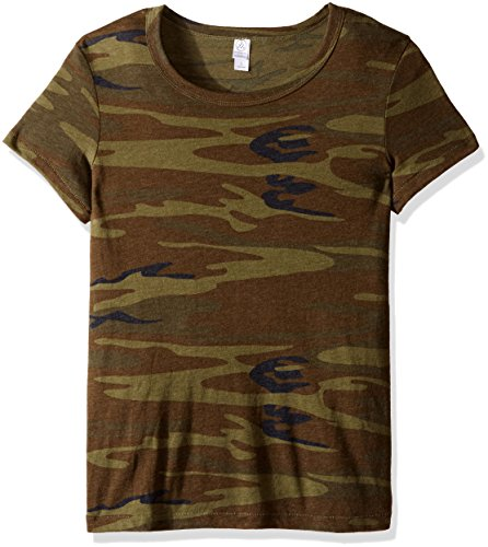 (Alternative Women's Ideal Short Sleeve Crew Neck Tee, Camouflage Green)